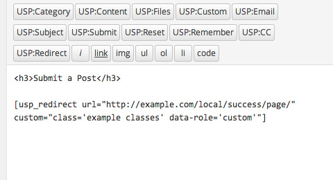 USP Pro - Custom Redirect Shortcode