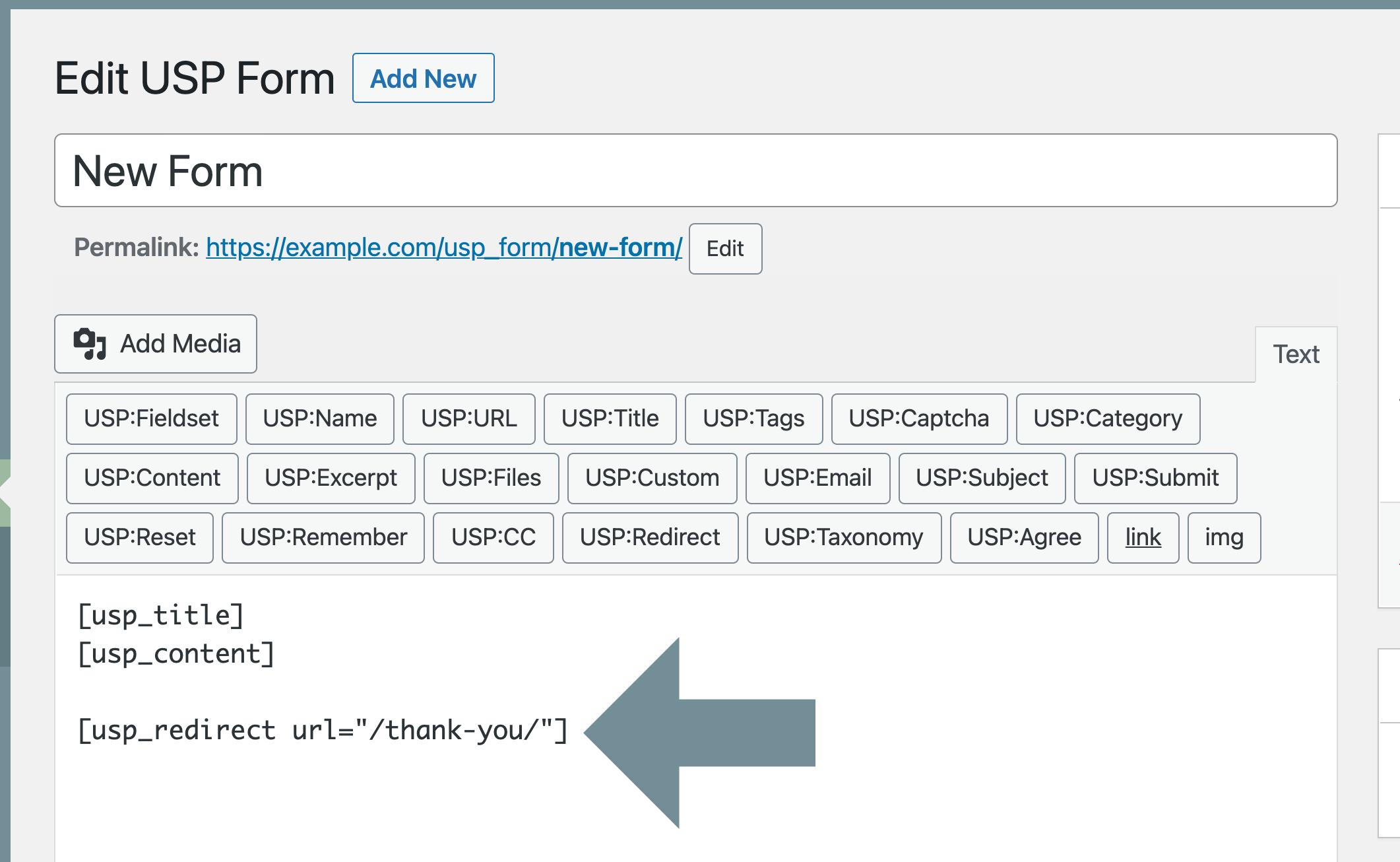 USP Pro - Custom Redirect Shortcode