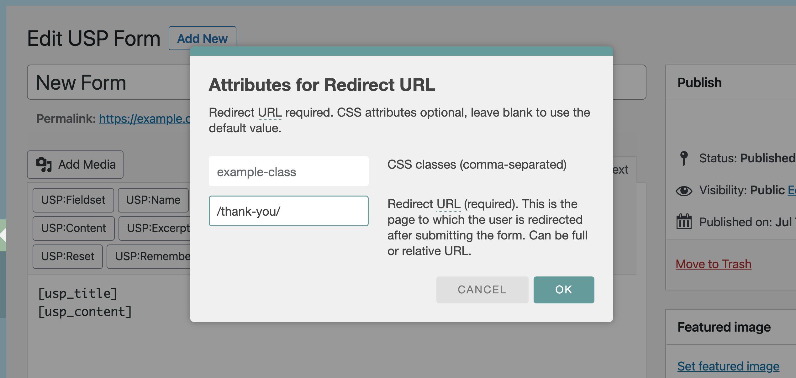 USP Pro - Redirect Quicktag URL Attribute