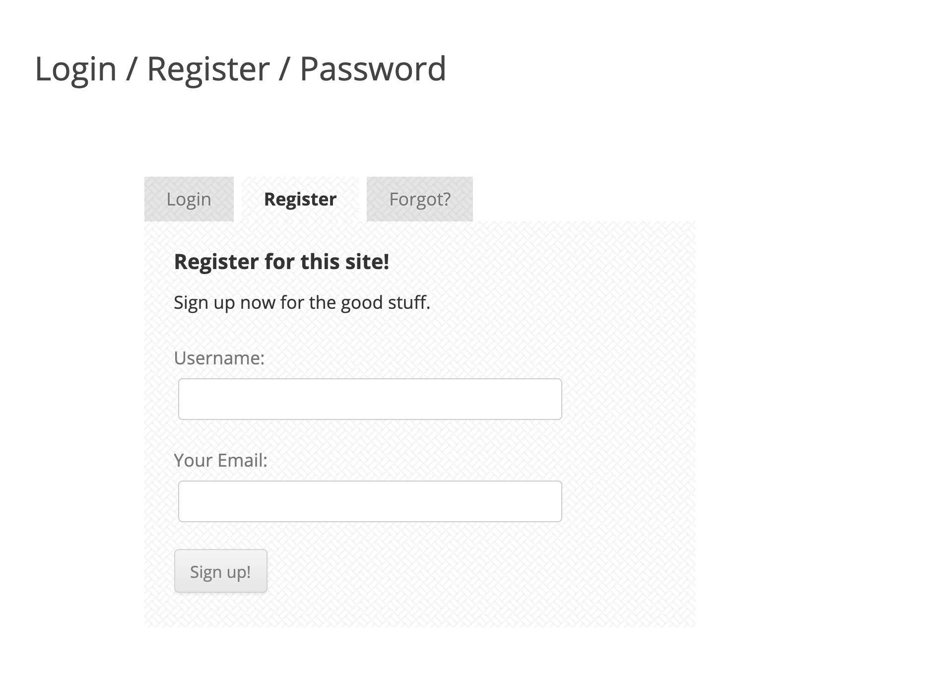 USP Pro - Register Form