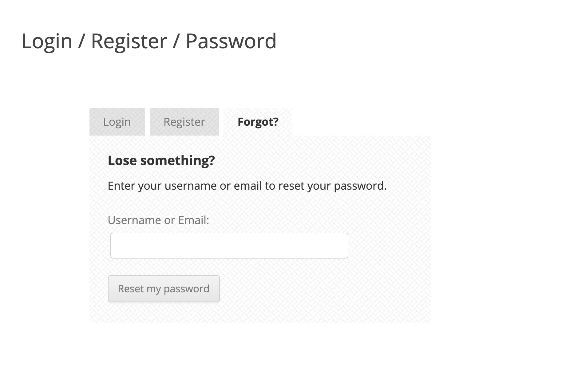 USP Pro - Reset Password Form