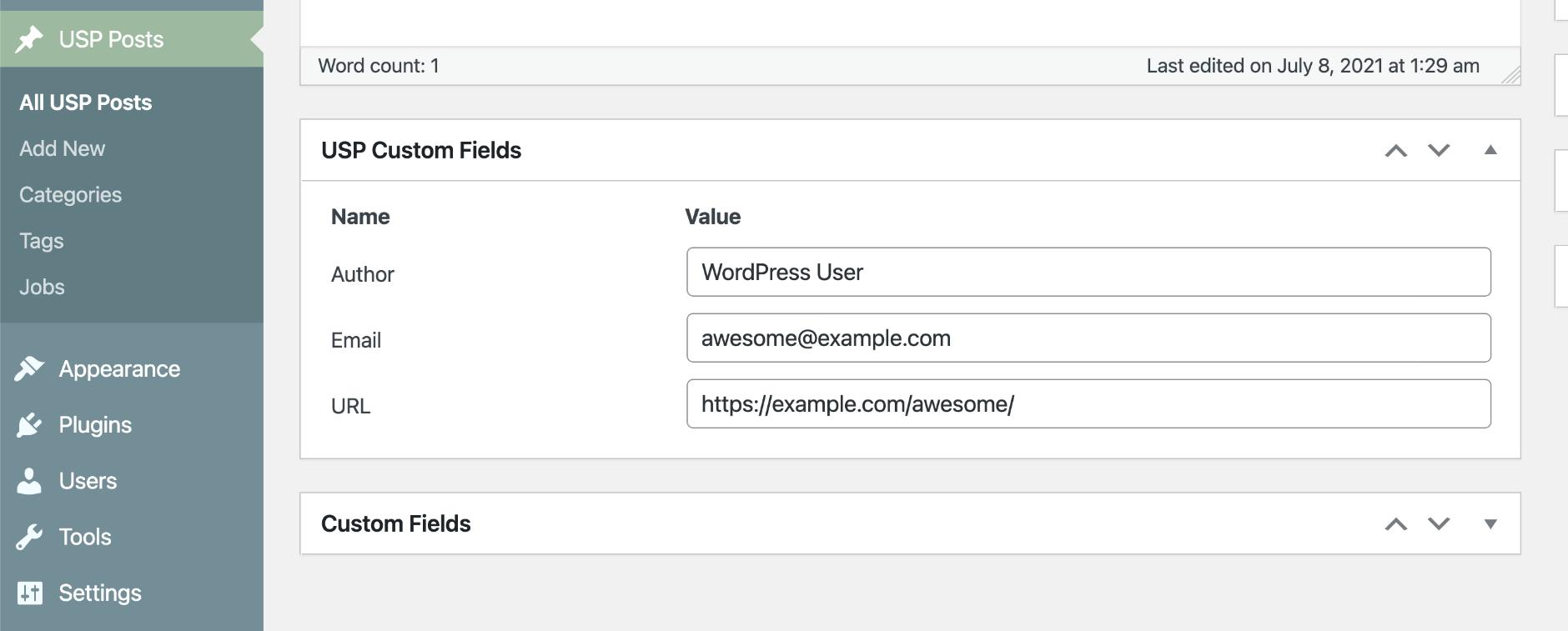 USP Pro Meta Box for Custom Fields