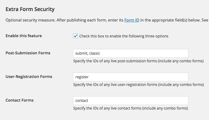USP Pro - Extra Form Security Regular Forms