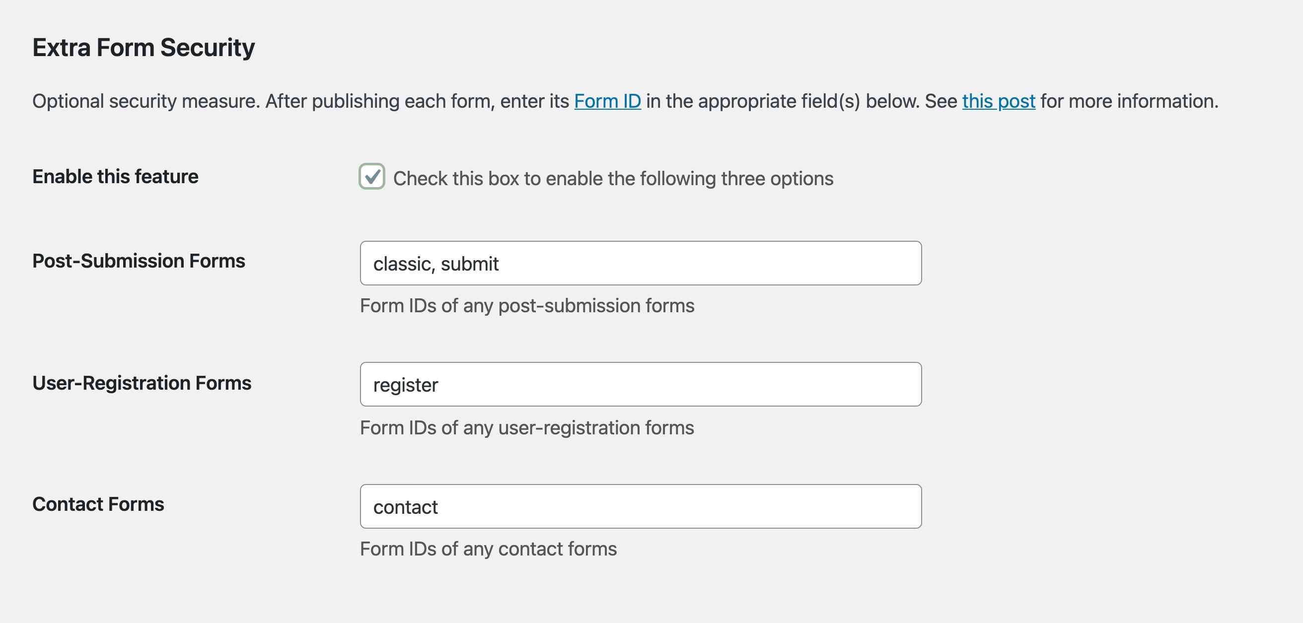 USP Pro - Extra Form Security Regular Forms