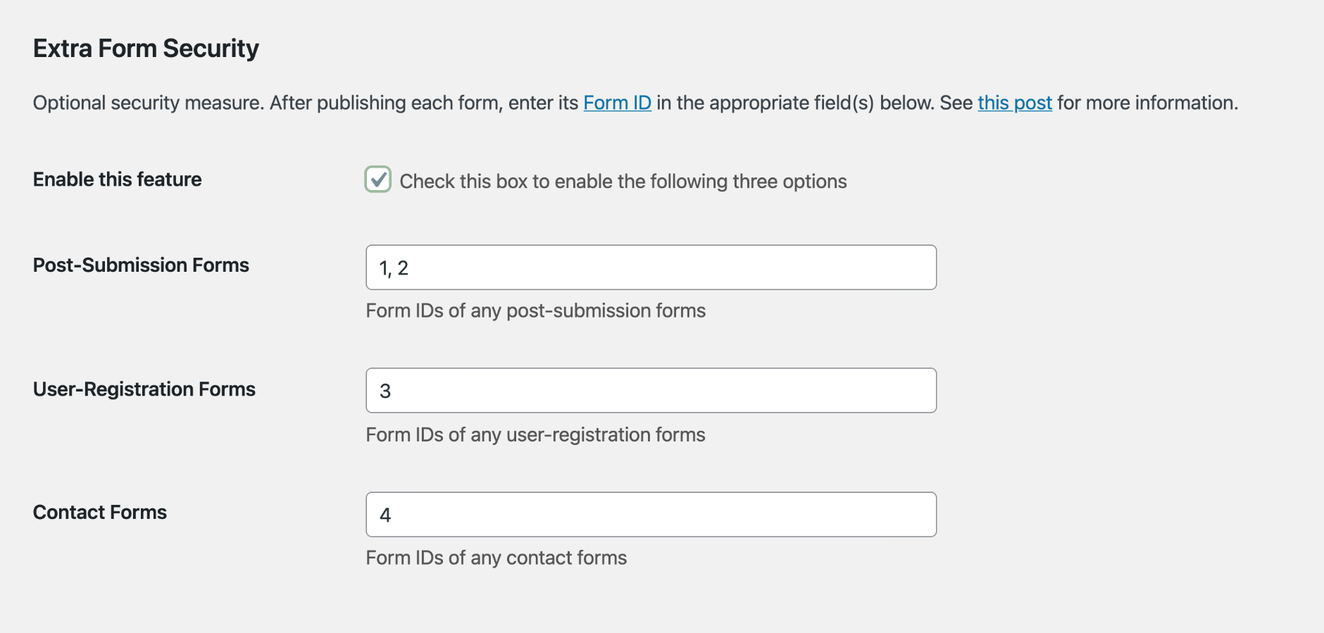 USP Pro - Extra Form Security Numeric IDs