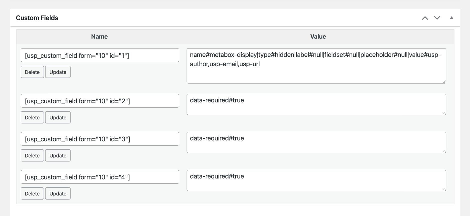 USP Pro - Meta Box Custom Fields
