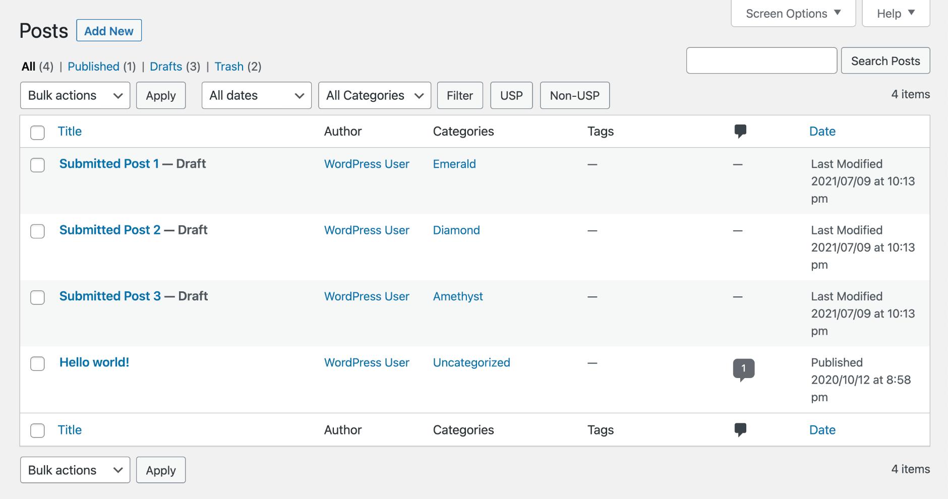 USP Pro - Filter Post Buttons