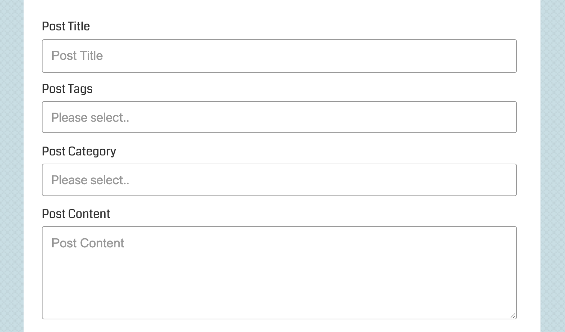 Selectize enabled Category and Tag fields (1/3)