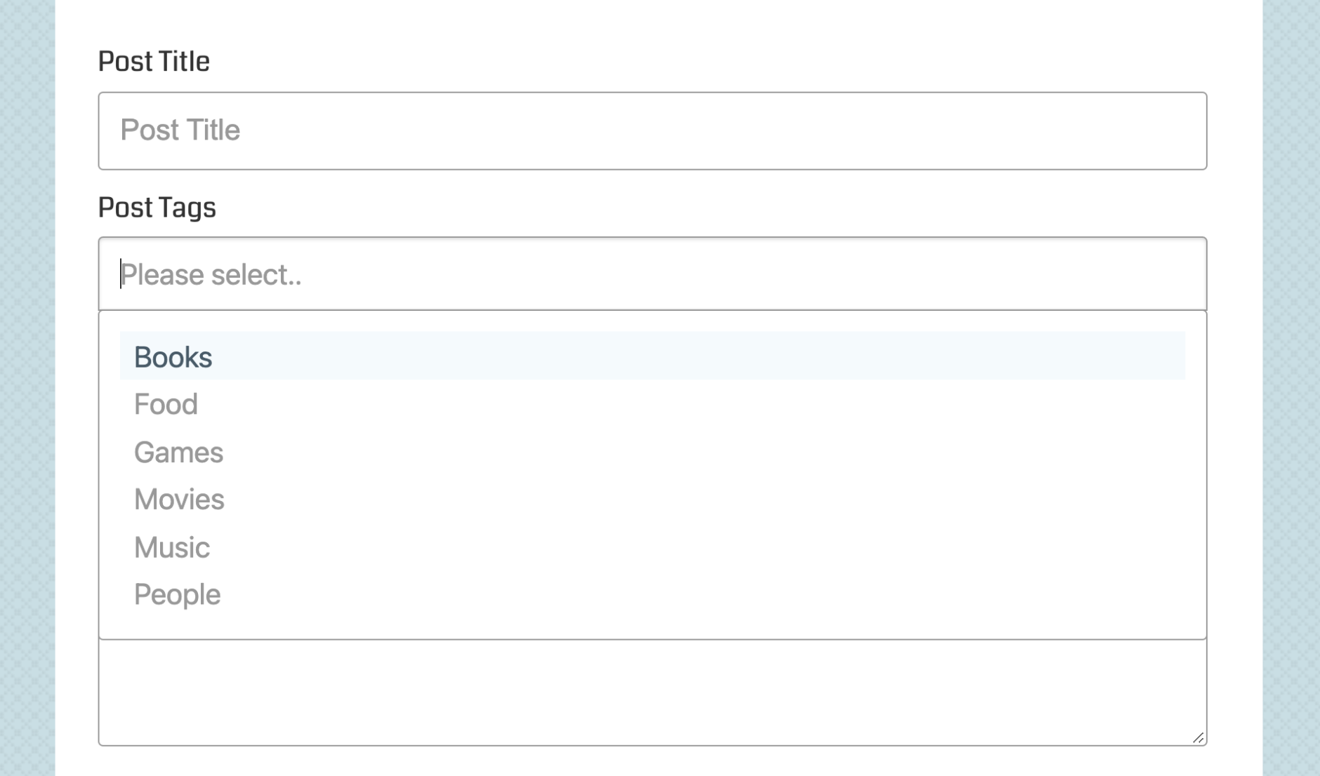 Selectize enabled Category and Tag fields (2/3)